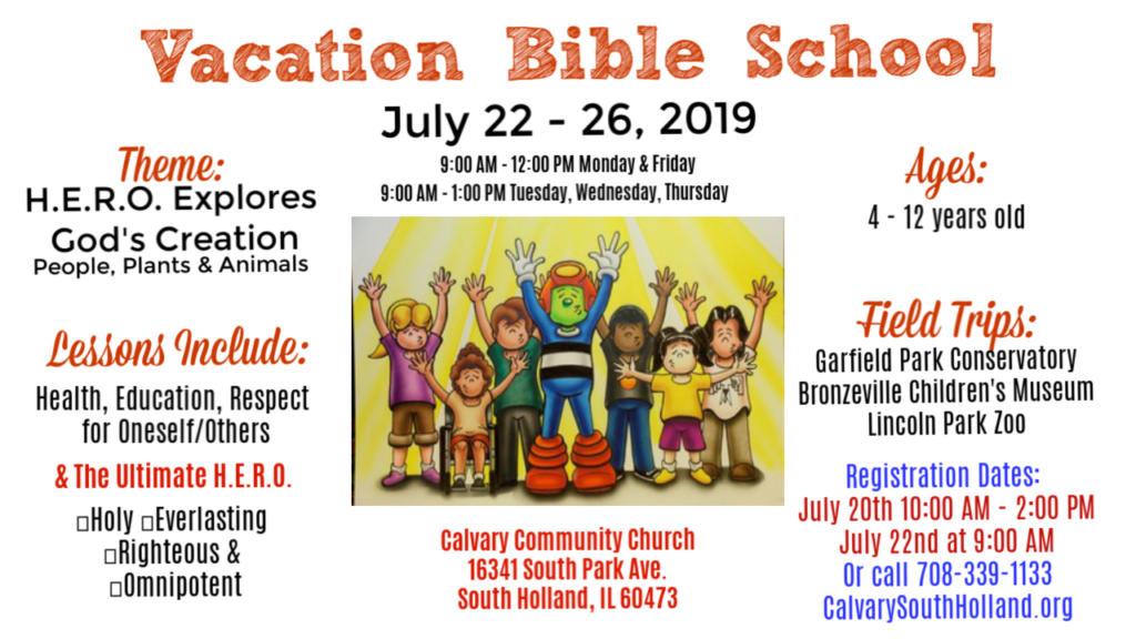 Flyer promotion of Vacation Bible School at Calvary Community Church in South Holland, IL