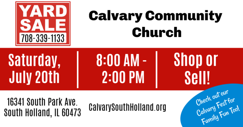 Flyer promotion of Yard Sale at Calvary Community Church in South Holland, IL