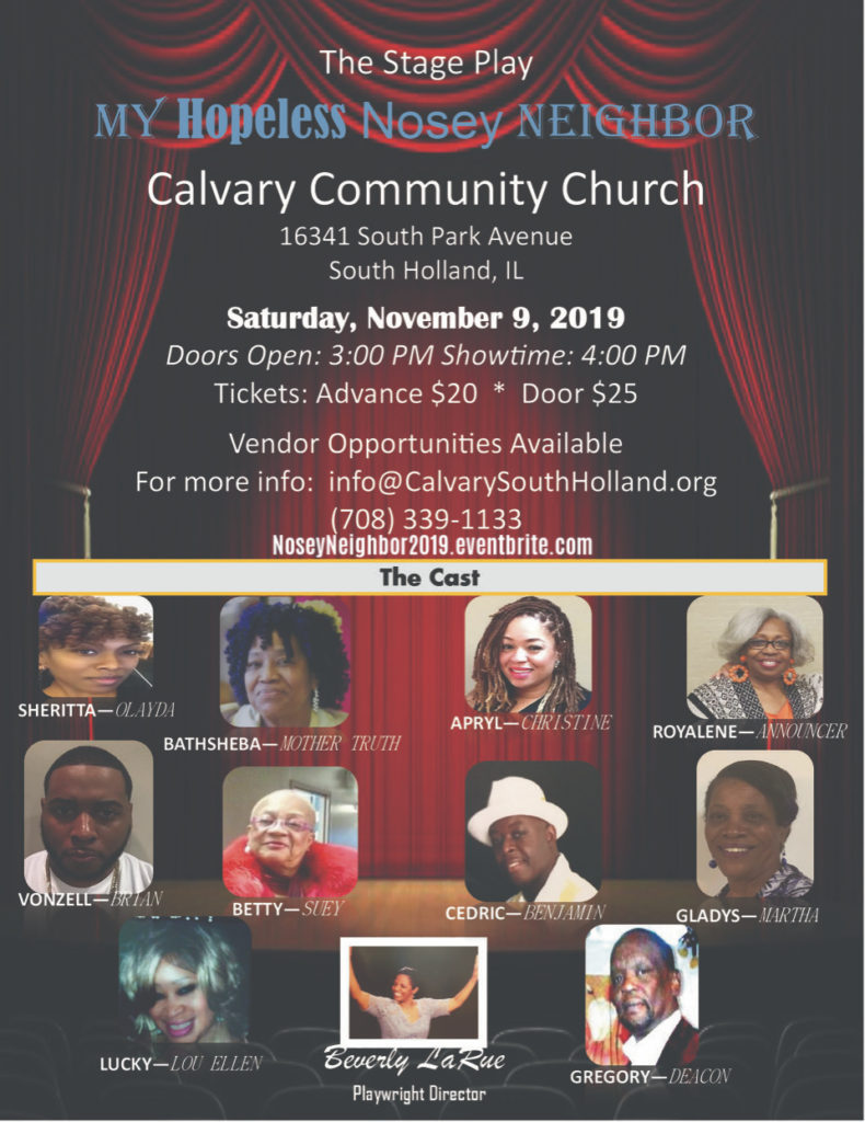 Flyer promotion of stage play at Calvary Community Church